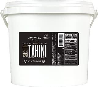 Pepperwood Organic Stone-Ground Whole Sesame Tahini Paste, Bulk Size, Unhulled, Unsalted, Non-GMO, Gluten-Free, Kosher, Vegan, USDA Organic, Peanut-Free, 6.6 LB (3kg Bucket)
