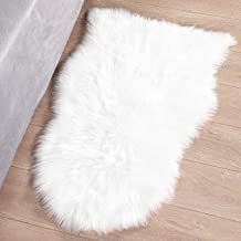 Syntus Faux Fur Area Rug, 2 x 3 Feet Sheepskin Beige Indoor Carpet Ultra Soft Fluffy for Chair Couch Cover Bedroom Floor S...