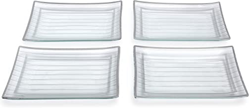 GAC Rectangular Tempered Glass Dinner Plate Set With Charcoal Black Trim, Service for 4, Break and Chip Resistant – Microwave and Oven Safe – Dishwasher Safe - Decorative Serving Plate