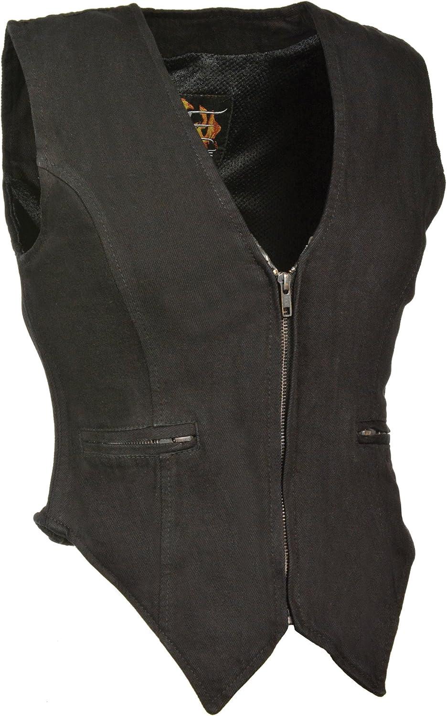 Milwaukee Women's Zippered Denim Vest (Black, XXXLarge)