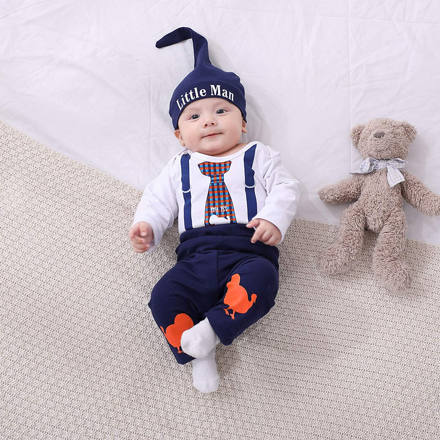 3Pcs Baby Boys Clothes Sets, Cute Pattern Print Romper + Pants + Hat Outfits Set (Long Sleeves Thanksgiving Day 3-6months)