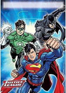 Boys Girls Birthday Party Celebration Paper Tableware Decorations Party Loot Bags Justice League Batman Superman Aquaman Flash Green Lantern (Loot Bags)