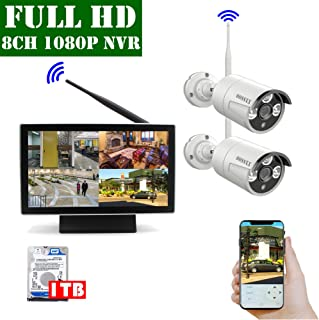 【2019 Update】 10 inch Screen HD 1080P 8-Channel Outdoor Wireless Security Camera System,2pcs 1080P Wireless IP67 Weatherproof IP Cameras,70FT Night Vision,P2P,App, 1TB Hard Drive