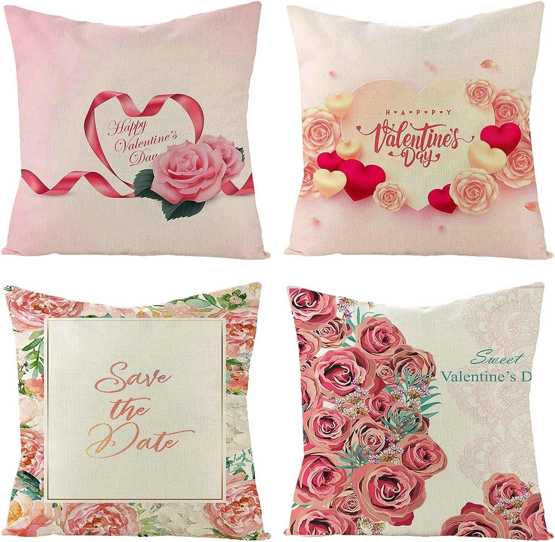 Socoz Juego de 4 fundas de cojín para sofá, 45 x 45 cm, fundas decorativas para cojines de cama, color rosa con flores, Sweet Valentine's Day Set de 8