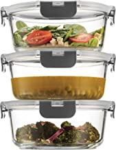 Superior Glass Meal-Prep Containers - 3-pack (35oz) Newly Innovated Hinged BPA-Free Locking Lids - 100% Leakproof Glass Fo...