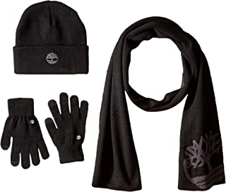 Timberland Men's Double Layer Scarf, Cuffed Beanie & Magic Glove Gift Set, black, One Size