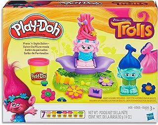 Play-Doh - Dreamworks Trolls - Press 'n Style Salon inc 7 Tubs of Dough & Acc - Creative Kids Toys - Ages 3+