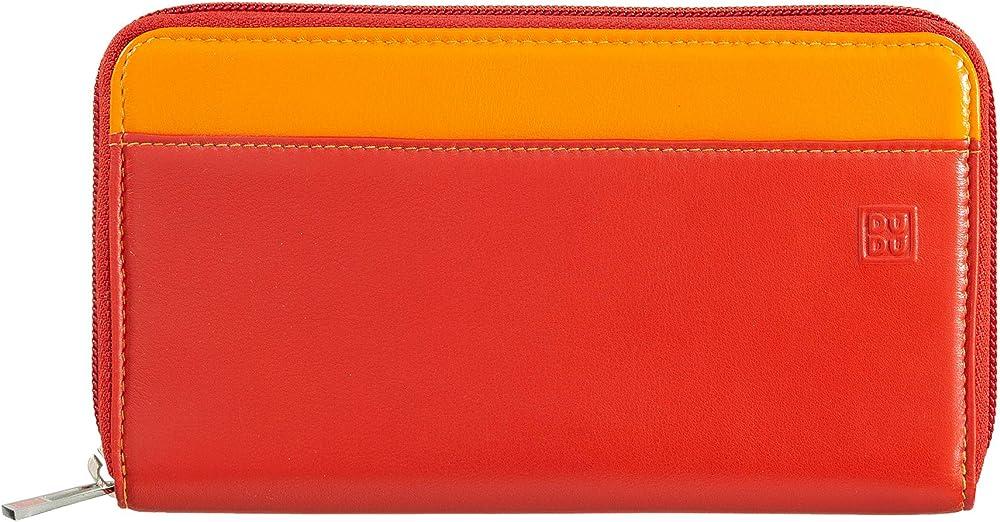 Dudu portafoglio da donna grande in vera pelle colorato porta carte di credito 8031847130157
