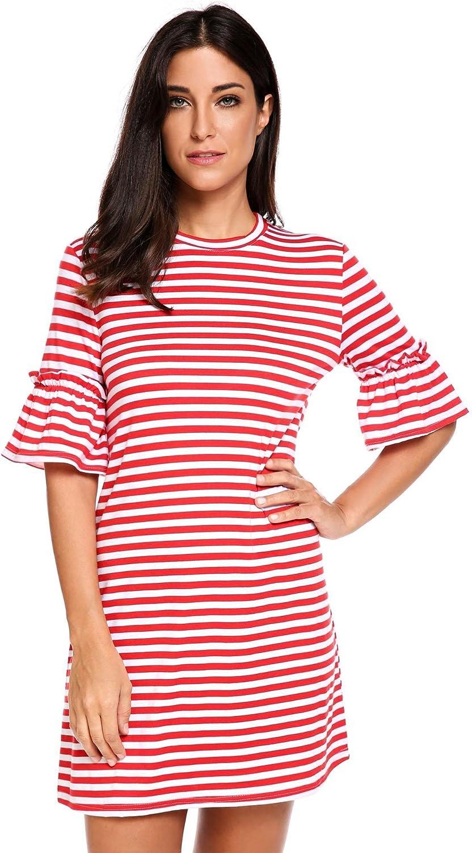 Beyove Women's Flare Half Sleeve Striped Loose Tunic T Shirt Dress Knee Length