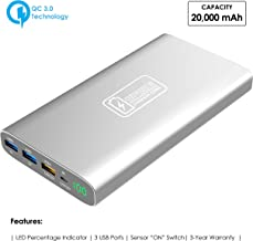 Portable Charger Quick Charge (QC) 3.0 Technology by SPEED CHARGER ZONE | (Silver) | 20,000 mAh with 3 Fast USB Charging Ports, LED Touchscreen Sensor ON Switch, Smartphones, Tablets and More!