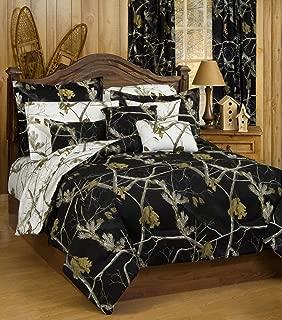 Realtree AP Black Camo 7 Pc King Reversible Comforter Set and AP White Camo Sheet set - Entire Set includes: (1 King Reversible Comforter, 1 King Flat Sheet, 1 King Fitted Sheet, 2 Pillow Cases, 2 Pillow Shams) SAVE BIG ON BUNDLING!