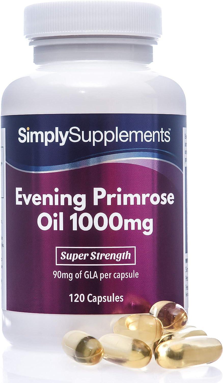 Aceite de onagra 1000 mg - ¡Bote para 4 meses! - 120 Cápsulas - SimplySupplements