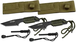 """Survivor HK-106320-2 HK-106320 Series Fixed Blade Outdoor Knife, Tanto Blade, Cord-Wrapped Handle, 7"""" Overall, Green (Pack..."""