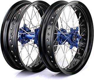 TARAZON 17 x 3.5 17 x 5.0 Supermoto Wheels Rims Set for KTM 125-530 SX EXC SXF SX-F EXC-F XC-W XC-W MXC Blue Hubs Rims Spokes