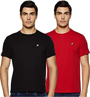 Amazon Brand - House & Shields Men's Solid Slim Fit Half Sleeve Cotton T-Shirt (Combo Pack of 2)