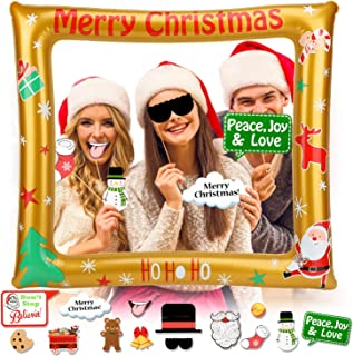 HOWAF Navidad Inflable Photo Booth Props Marco con Navidad Cabina de Fotos Photocall Accesorios para Decoración Artículo de Fiesta de Navidad