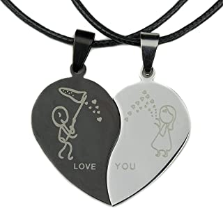Couples Matching Necklace Gifts Love You Broken Half Heart Couple Gift Set