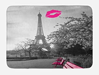 Ambesonne Paris Bath Mat, Romantic Monochrome Photo of Eiffel Tower Pink Benches and a..