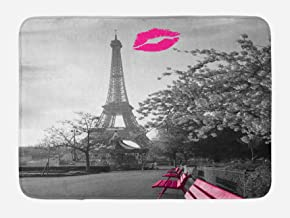 Ambesonne Paris Bath Mat, Romantic Monochrome Photo of Eiffel Tower with Pink Benches and a Kiss Mark, Plush Bathroom Decor Mat with Non Slip Backing, 29.5