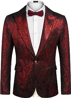 Mens Floral Tuxedo Suit Slim Fit One Button Blazer Luxury Dinner Jacket