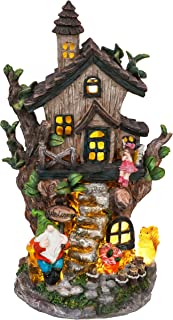 TERESA'S COLLECTIONS 12.2 Inch Fairy Garden House Statues, Cottage Sculptures with Gnomes, Solar Powered Garden Lights Lar...