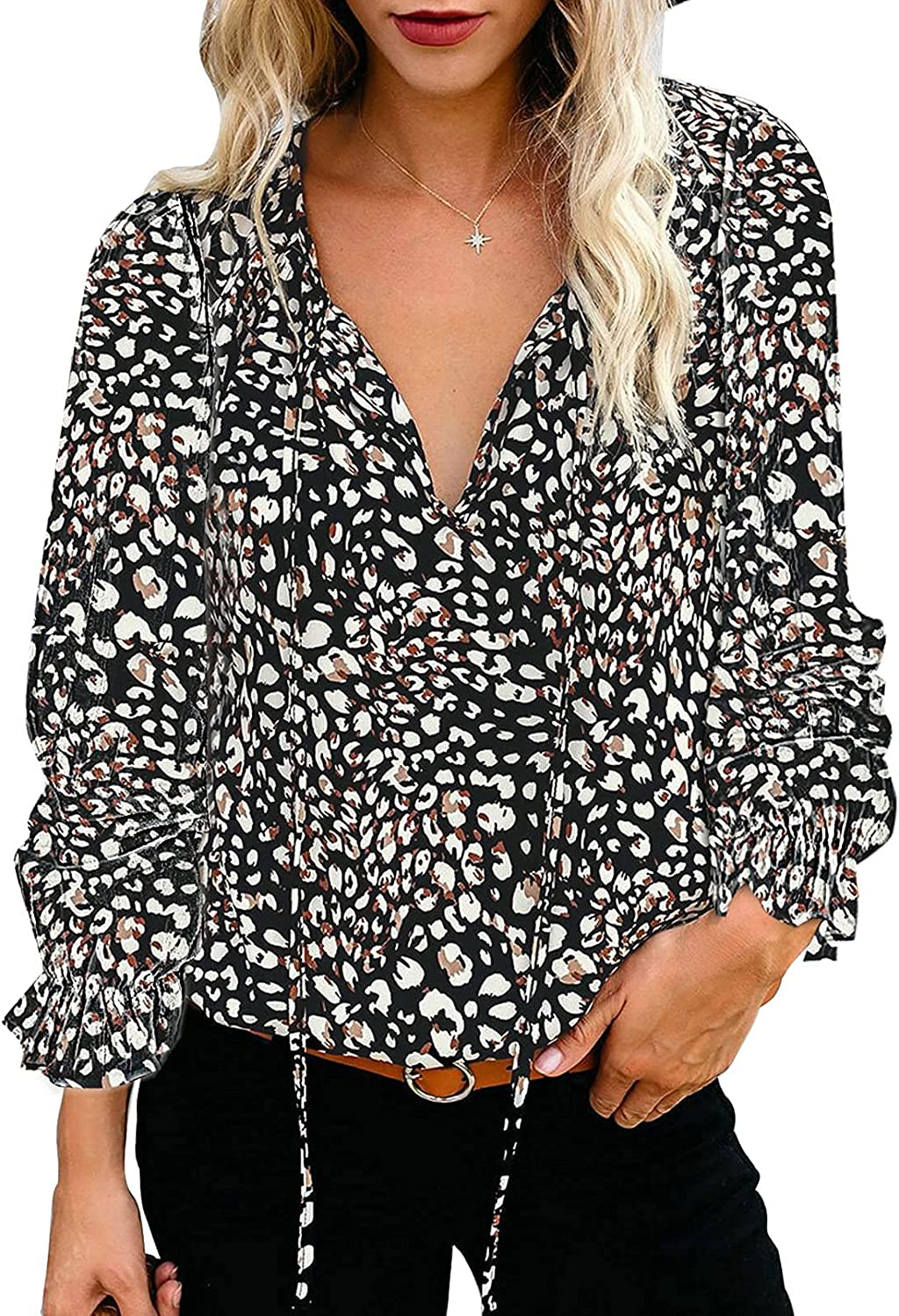 Happy Sailed Womens Summer Boho Floral Neck Ruff V Self-Tie Tops Dallas Mall In a popularity