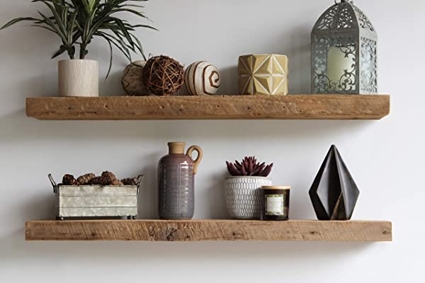 Urban Legacy Floating Shelves Made From Genuine Reclaimed Wood Trendy Modern Barn Wood Amish Made In Lancaster County PA Natural 48 X 7 X 2