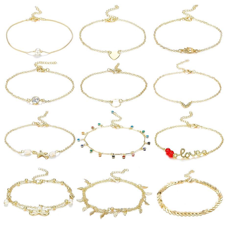 Hanpabum 12Pcs Ankle Bracelets for Women Girls Gold Tone Beach Anklet Foot Chains Bracelets Jewelry Set Adjustable