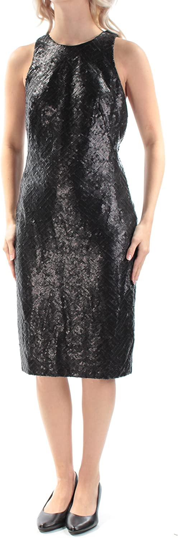 Lauren Ralph Lauren Women's Sleeveless Sequin Sheath Dress (6, Black)