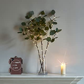 LITBLOOM Lighted Eucalyptus Branches 24IN 36 LED with Timer Artificial Greenery Battery Operated for Wedding Party Holiday...