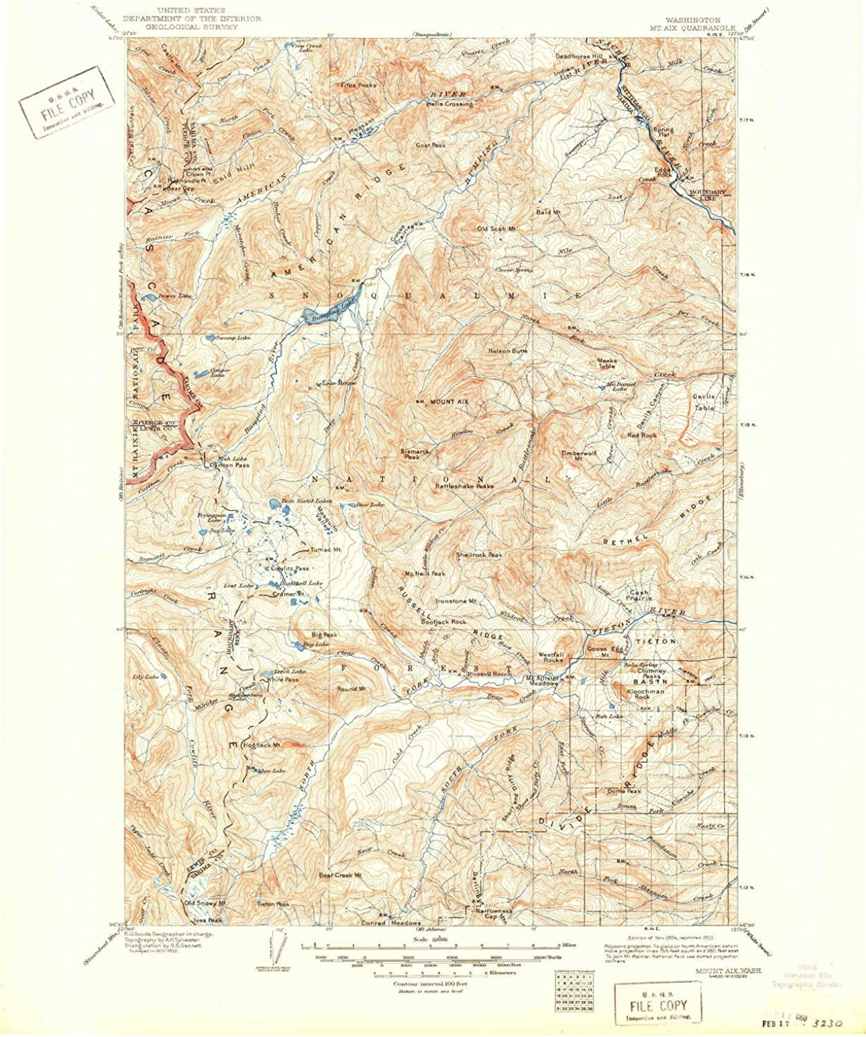 Mount Aix WA topo map, 1 125000 Scale, 30 X 30 Minute, Historical, 1904, Updated 1950, 20.9 x 17.1 in