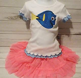 Girl's Finding Nemo Finding Dory Birthday Blue White Ruffle Shirt 5/6 READY TO SHIP