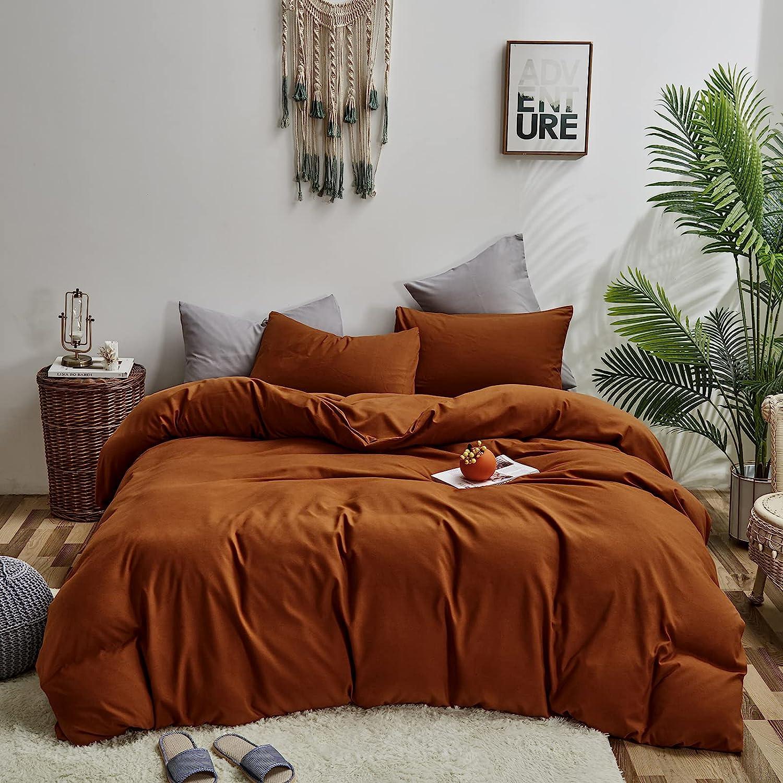 Wellboo Rust Caramel Duvet 2021new shipping free Cover Covers Kin Sale Bedding Orange Burnt