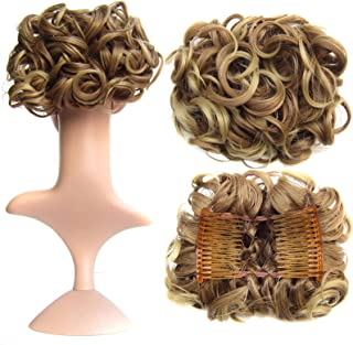 SWACC Short Messy Curly Dish Hair Bun Extension Easy Stretch hair Combs Clip in Ponytail Extension Scrunchie Chignon Tray Ponytail Hairpieces (Light Brown/Beige Mixed-12T24#)