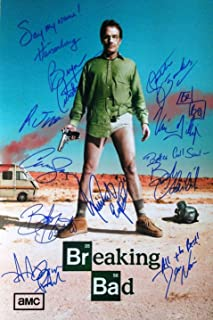 Breaking Bad cast 12x18 reprint signed poster by 10 RP Cranston Paul