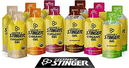 Honey Stinger Organic Energy Gels – Variety Pack  – 12 Count – Energy Source for Any Activity – Vanilla, Chocolate, Mango Orange, Acai Pomegranate, Strawberry Kiwi & Fruit Smoothie – Plus Sticker
