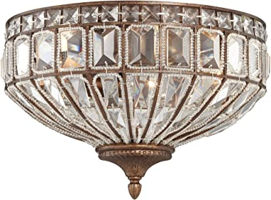 "Ibeza Ceiling Light Flush Mount Fixture Square Cut Crystal Mocha Brown 15.5"" Wide Bedroom Kitchen - Vienna Full Spectrum"