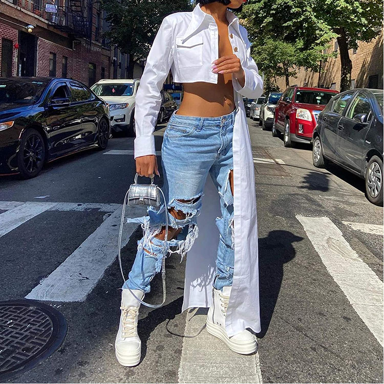 VWIWV Women's Sexy Long Sleeve Button Down Pockets Blouse T-Shirt Asymmetry Tops Shirts