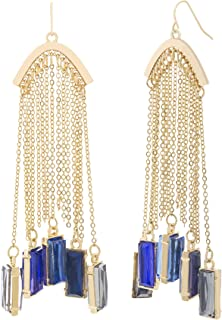 Multi-Tonal Dangling Baguettes on Yellow Gold-Tone Rolo Chain Tassel Earrings for Women (Various Colors)