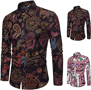 OSTELY Shirts for Men, Personality Summer Casual Slim Long Sleeve Printed Shirt Top Blouse