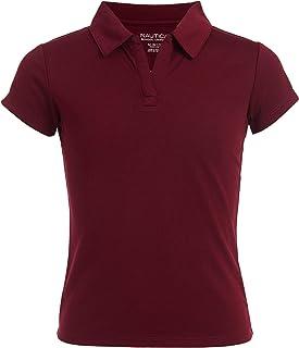 Nautica Girls Size' School Uniform Short Sleeve Performance Polo, Burgundy, 8-10 Plus