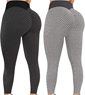 Pack 2 Push Up Leggings para Mujer, Cintura Alta Mujer Malla Celular Pantalón de Yoga Leggings, Butt Lifter Anti-Cellulite...