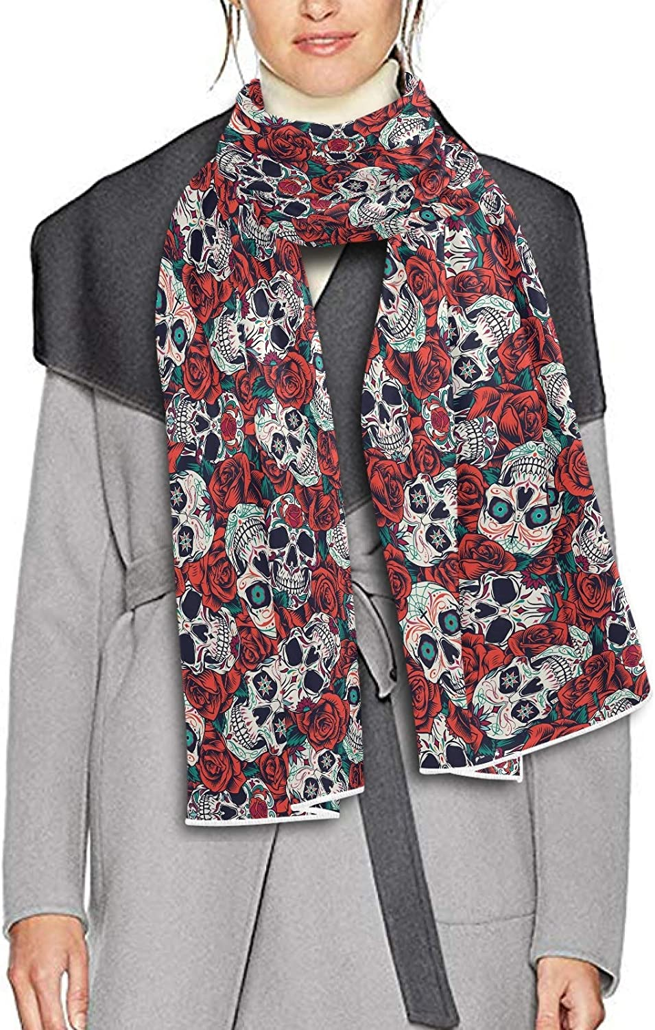 Scarf for Women and Men Skeleton And Rose Shawls Blanket Scarf wraps Warm soft Winter Long Scarves Lightweight