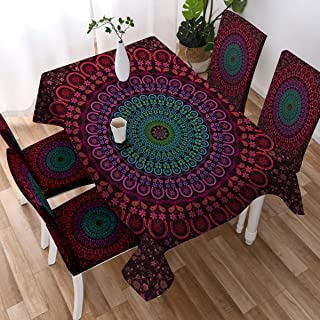 Sleepwish Mandala Tablecloth Polyester Fabric Red Bohemian Chic Decorative Tablecloths Boho Table Cover (Rectangle/Oblong, 55 x 70Inch)