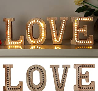 SAND MINE Large Love Signs Decor, Wooden LED Letter Lights, LED Love Shaped Letters Sign, Light Up Love Sign for Wedding C...