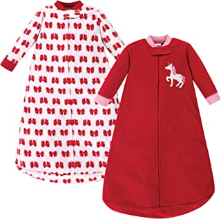 Hudson Baby Baby Long Sleeve Fleece Sleeping Bag, Christmas Unicorn Pack, 0-9 Months