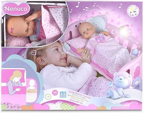 Famosa 700007431 - Nenuco Schlaf bei Mir, inklusiv Puppenbett mit Licht und Musik, 42 cm