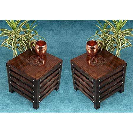 Amaze Shoppee Wooden Beautiful Handmade Stool | Table | for Office | Home Furniture | Outdoor - Brown(2)