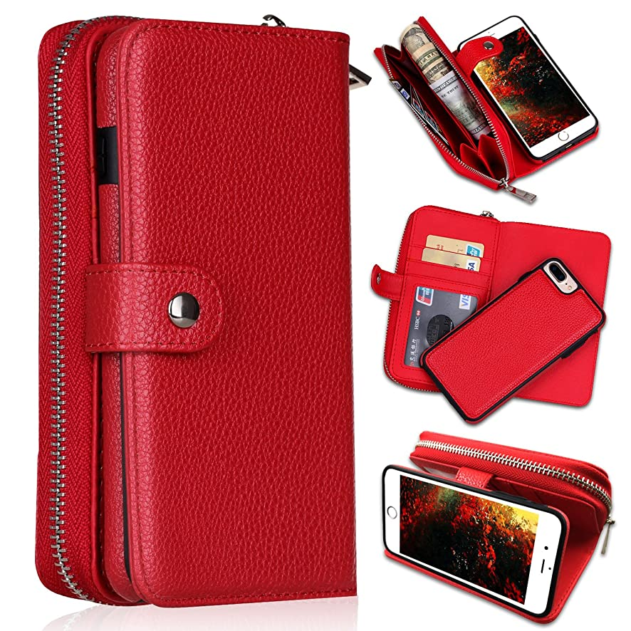 iPhone 7 Plus/iPhone 8 Plus Wallet Cases, [Large Capacity][Magnetic Detachable] CASEOWL 2 in 1 Zipper Pocket Leather Wallet Case with Wrist Strap, Stand, Cards Holder for iPhone 7 Plus/8 Plus-Red