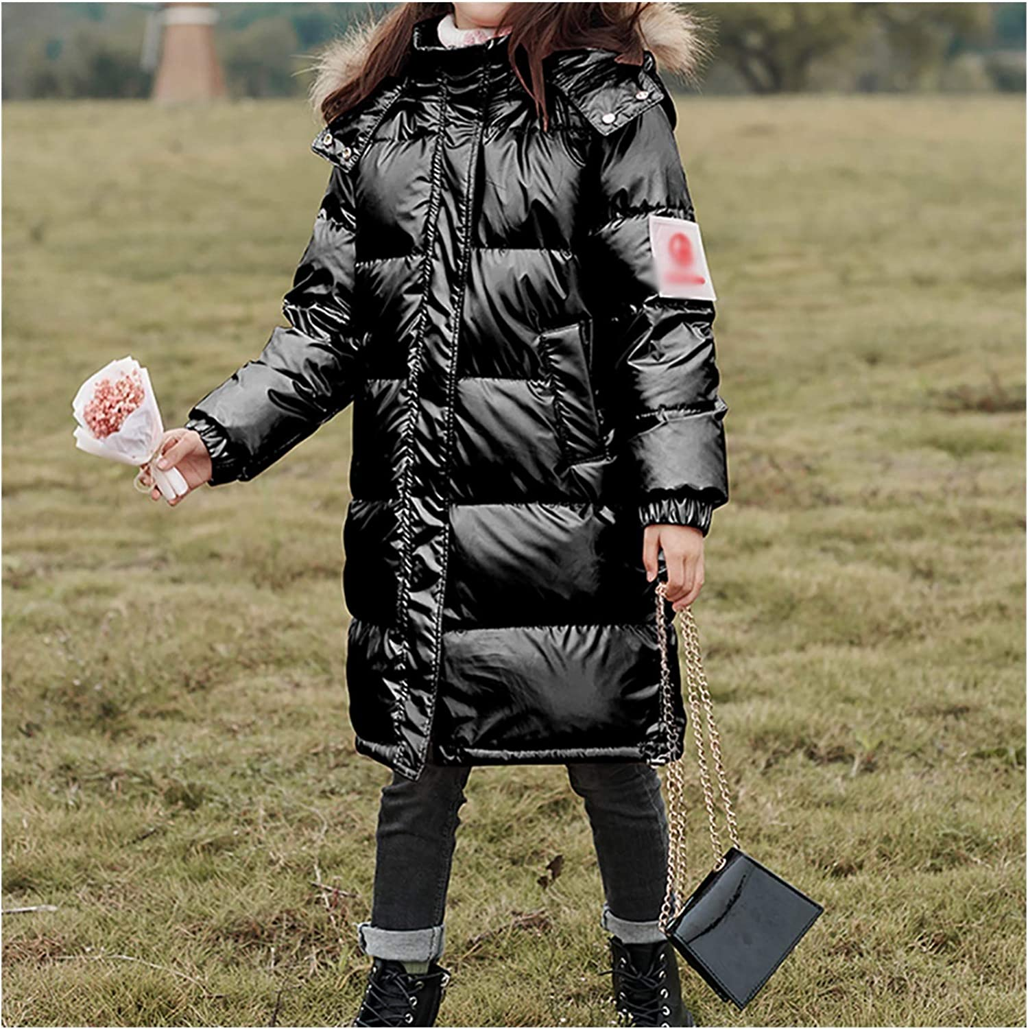 Durable Girls' Parkas Puffer Down Coat Warm Outwear Winter Thicken Zip Coat Jacket with Faux Fur Trim Hood Snow (Color : Black, Size : Large)